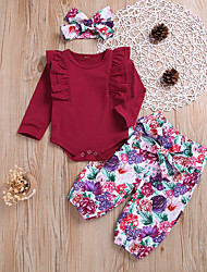 cheap -Baby Girls' Basic Floral Long Sleeve Regular Clothing Set Red