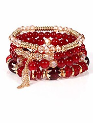 cheap -bohemian beaded bracelet for women and girls multi-layer stackable stretch bracelet color crystal beach bracelet set (red)