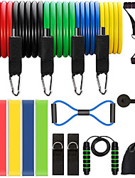 cheap -Jump Rope / Skipping Rope Resistance Band Set Suspension Trainer Basic Kit 18 pcs 5 Stackable Exercise Bands Door Anchor Legs Ankle Straps Sports Latex Home Workout Gym Workout Pilates Adjustable Non