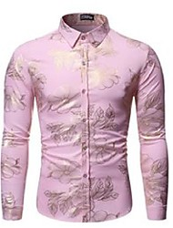 cheap -men's casual shirts pink floral print shirt men 2021 luxry brand bronzing long sleeve chemise homme mens party nightculb tuxedo dress