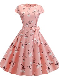 cheap -Audrey Hepburn Vintage Prom Dresses Dress Women's Costume Yellow / Blushing Pink / Blue Vintage Cosplay Homecoming Date Short Sleeve Midi A-Line