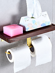 cheap -Golden Double Toilet Tissue Holder with Mobile Phone Storage Shelf Free-punched Bathroom Toilet Waterproof Solid Wood Roll Paper Holder 1PC