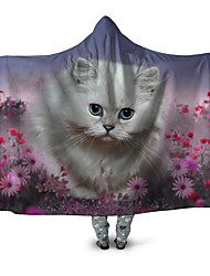 cheap -Microfiber Throw Blanket Wearable Hoodie For Couch Chair Sofa Bed 3D Print Lovely Cute Cat Animals Soft Fluffy Warm Cozy Plush Autumn Winter