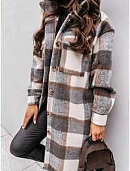 cheap -Women's Trench Coat Holiday Fall Winter Long Coat Regular Fit Warm Casual Streetwear Jacket Long Sleeve Plaid Patchwork Gray Khaki Spring Lined Going out