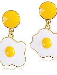 cheap -andpai chic funny cute 14k gold enamel fried egg stud earring poached egg dangle drop earrings for women girls lover kitchen cooking statement jewelry gifts (white)