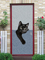 """cheap -2pcs Self-adhesive Creative Worry Black Cat Door Stickers For Living Room Diy Decorative Home Waterproof Wall Stickers 30.3""""x78.7""""(77x200cm), 2 PCS Set"""