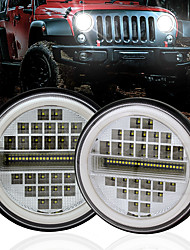 cheap -OTOLAMPARA New Arrival 230W 7 Rows LED Headlight H4 Double Colors Ring Angle Eye 4 in 1 Function Wrangler LED Headlight 2pcs