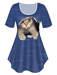 cheap -Women's Plus Size Tops T shirt Print Cat Graphic Animal Large Size Crewneck Short Sleeve Basic Big Size XL XXL 3XL 4XL 5XL White Black Blue
