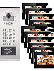cheap -12 Units Apartment Video Intercom Video Door Entry IR-CUT 1000TVL Camera Doorbell RFID Card Access Multi Families