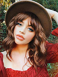 cheap -brown wig with pony for women short bob curly wavy wigs shoulder length synthetic wigs for girls natural costume wig (about 33cm, brown) vd069a