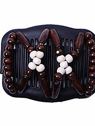 cheap -magic wood beads double hair comb clip stretchy women hair accessories