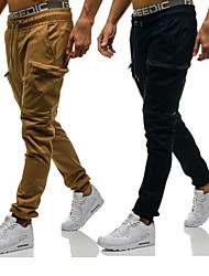 cheap -Men's Sporty Casual / Sporty Streetwear Quick Dry Breathable Soft Pants Chinos Trousers Daily Sports Pants Camouflage Solid Color Full Length Drawstring Elastic Waist Army green camouflage Grey Khaki