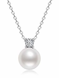 cheap -pearl necklace single freshwater white pearl pendant bar necklace with silver chain jewelry gifts for women girls