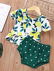 cheap -Baby Girls' Basic Print Short Sleeve Short Clothing Set Green