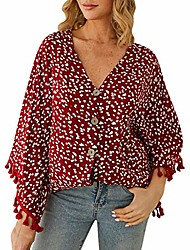 cheap -aihihe womens boho sweater floral print tassel button down sweater 3/4 bat sleeve cardigan v neck knit tops sweaters red