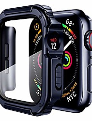 cheap -Smart watch Case case cover compatible for apple watch 38mm with tempered glass screen for iwatch series 3 2 1 protective bumper accessories hard case for women men -blue