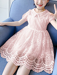 cheap -Kids Little Girls' Dress Solid Colored Blushing Pink Dresses