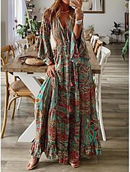 cheap -Women's Swing Dress Maxi long Dress Photo Color 3/4 Length Sleeve Print Print Spring Summer V Neck Casual Vintage Boho Holiday Beach Flare Cuff Sleeve Loose 2021 S M L XL XXL XXXL