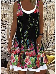cheap -Women's A Line Dress Knee Length Dress Red black pink gray Green Black Navy Blue Sleeveless Print Spring Summer Casual / Daily 2021 S M L XL XXL XXXL