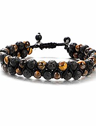 cheap -ueuc tiger eye stone woven bracelet, 6mm lava stone braided double layer bracelet, essential oil diffuser healing natural stone bead chakra adjustable yoga bracelets(#1)