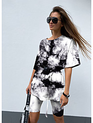 cheap -2021 spring and summer european and american women's clothing amazon women's tie-dye gradient pajamas short-sleeved home service suit