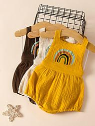 cheap -Baby Girls' Basic Rainbow Print Sleeveless Romper White