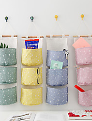 cheap -self-produced and self-sold creative cotton and linen storage hanging bag 3 layer hanging pocket small and fresh little storage bag