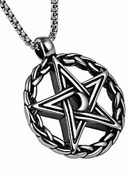 cheap -hzman pentagram moon shape retro style round pentacle pendant stainless steel 22 + 2 inch necklace