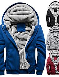 cheap -Men's Hoodie Jacket Hiking Fleece Jacket Winter Outdoor Solid Color Thermal Warm Windproof Fleece Lining Breathable Zip Top Winter Fleece Jacket Wool Single Slider Full Length Visible Zipper Ski