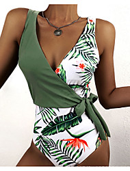 cheap -Women's One Piece Tankini Swimsuit Criss Cross Green Swimwear Bathing Suits Vacation / Padded Bras / Beach