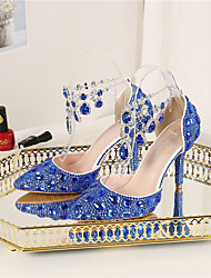 cheap -Women's Wedding Shoes Stiletto Heel Pointed Toe Wedding Pumps PU Crystal Sparkling Glitter Tassel Solid Colored Color Block Light Yellow Blue Silver