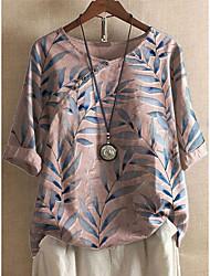 cheap -Women's Plus Size Tops Blouse Shirt Leaf Half Sleeve Round Neck Spring Summer Smoke green White Blushing Pink Big Size L XL XXL XXXL 4XL