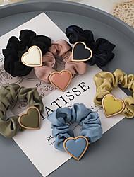 cheap -spring is coming ~ korean temperament cute peach heart retro creamy yellow love hair tie hair band large intestine ring rubber band