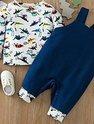 cheap -2 Pieces Baby Boys' Basic Dinosaur Animal Print Long Sleeve Regular Hoodie & Pants Clothing Set White