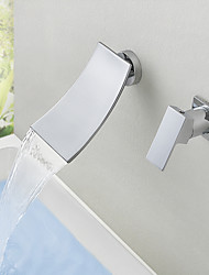 cheap -Bathroom Sink Faucet - Wall Mount / Waterfall Chrome Mount Inside Single Handle Two HolesBath Taps