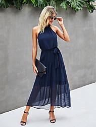 cheap -Women's Swing Dress Maxi long Dress Light Blue Blue khaki Dark Green Dark Blue Gray Sleeveless Print Backless Lace up Spring Summer Halter Neck Elegant Casual / Daily 2021 S M L XL / Holiday