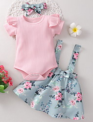 cheap -Baby Girls' Basic Floral Short Sleeve Regular Clothing Set Blushing Pink