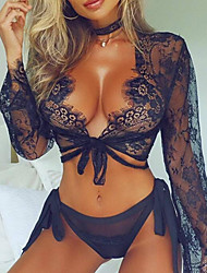 cheap -Women's Normal Gartered Lingerie Lace Geometric Polyester / Sexy