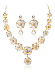 cheap -Women's Pearl Jewelry Set Geometrical Flower Fashion Gold Plated Earrings Jewelry Gold For Wedding Anniversary Party Evening Festival 1 set