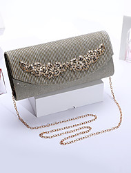 cheap -Women's Bags Polyester Evening Bag Glitter Chain Solid Colored Party Wedding Sequins Chain Bag White Blushing Pink Black Dark Gray