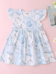 cheap -Baby Girls' Basic Print Sleeveless Dress White