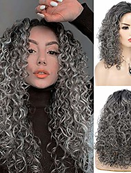 cheap -women afro kinky curly wig long grey synthetic heat resistant cosplay costume halloween party wig with wig cap