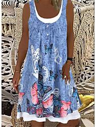 cheap -Women's A Line Dress Knee Length Dress Denim Blue Gray Sleeveless Print Spring Summer Casual / Daily 2021 S M L XL XXL XXXL