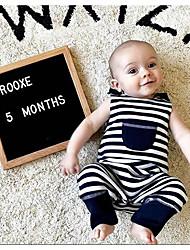 cheap -Baby Boys' Active Striped Print Sleeveless Romper Navy Blue