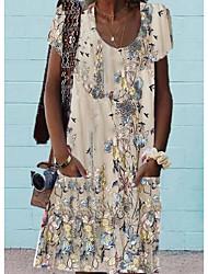 cheap -Women's A Line Dress Knee Length Dress Beige Short Sleeve Floral Plants Spring Summer Round Neck Elegant Casual 2021 S M L XL XXL / Loose