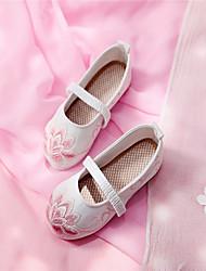cheap -Boys' Girls' Flats Flower Girl Shoes Satin Little Kids(4-7ys) Daily Flower White Red Blue Summer