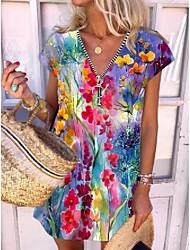 cheap -Women's A Line Dress Knee Length Dress Blushing Pink Light Green Sleeveless Pattern Spring Summer Casual / Daily 2021 S M L XL XXL XXXL