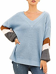 cheap -womens oversized sweater pullover off shoulder knitted v neck batwing striped chunky loose fit shirt tops (blue,small)
