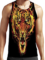 cheap -Men's Unisex Tank Top Undershirt Shirt 3D Print Graphic Prints Tiger Animal Plus Size Print Sleeveless Casual Tops Basic Fashion Designer Breathable Round Neck Black / Sports / Summer
