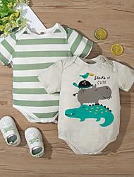 cheap -Baby Boys' Basic Striped Animal Print Short Sleeves Romper White Green